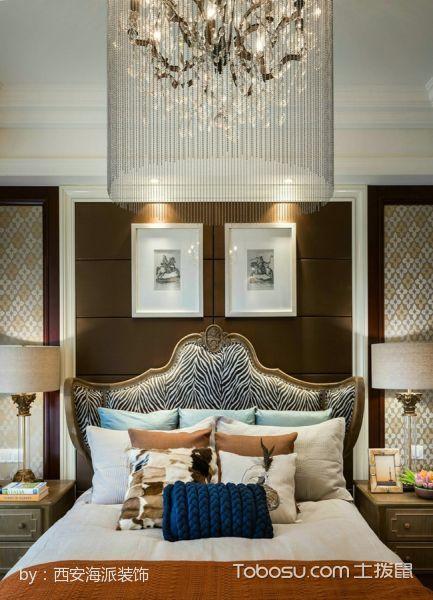 卧室咖啡色背景墙美式风格装饰图片