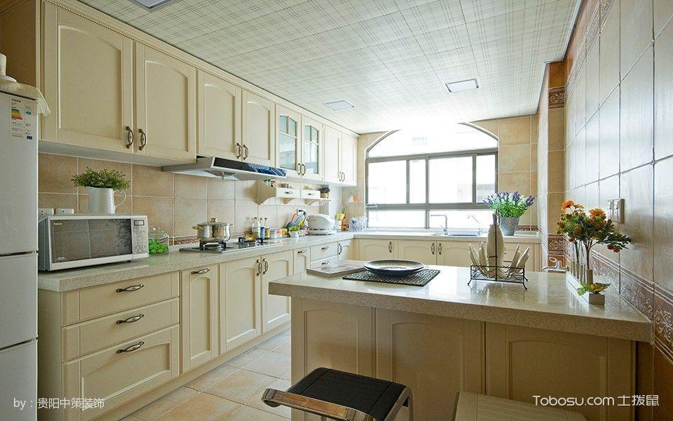 厨房白色吊顶欧式风格装潢效果图