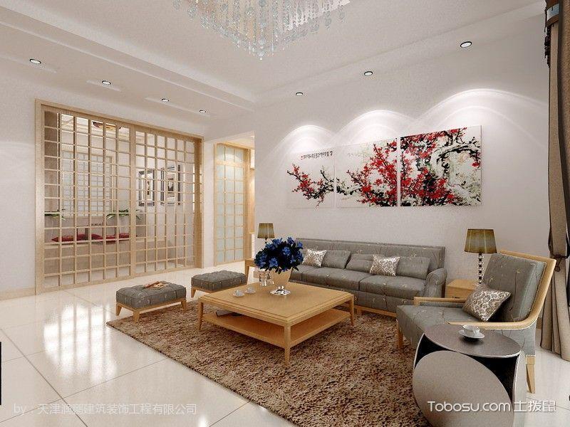 客厅白色照片墙韩式风格装修图片