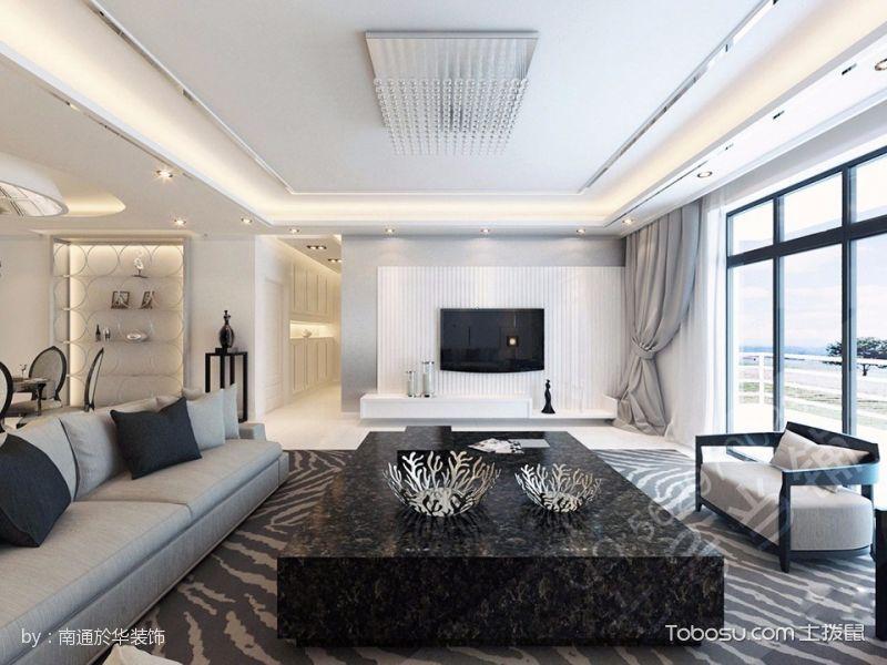 三居室现代简约白色装修效果图