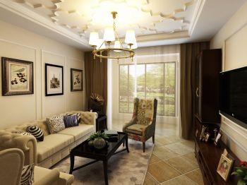 现代美式风格三居室样板间效果图
