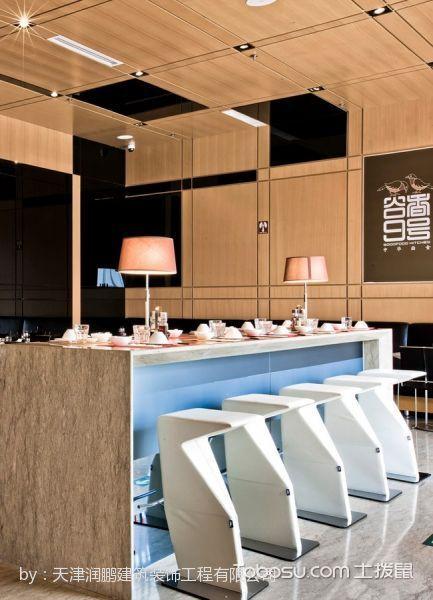 时尚快餐厅吧台座位装修图片
