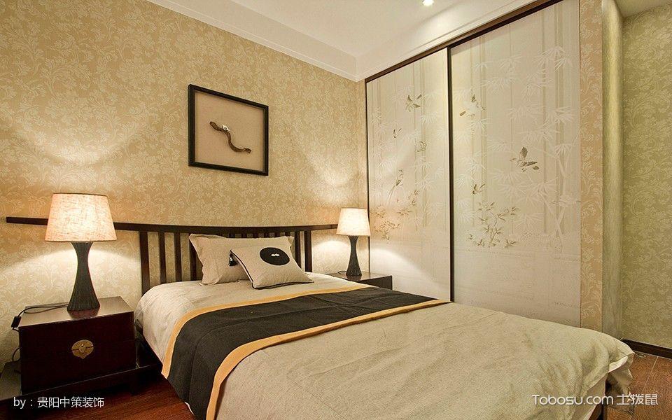 卧室红色床头柜新中式风格装潢图片