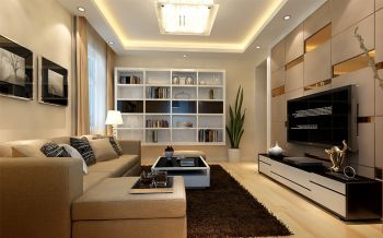 四川大厦简约三居室家庭装修效果图