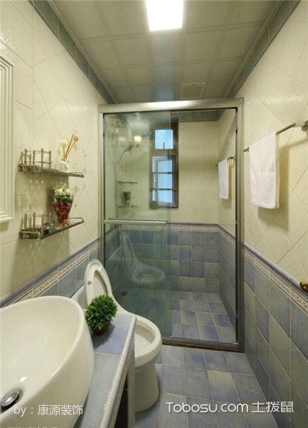 卫生间蓝色地砖美式风格装潢效果图