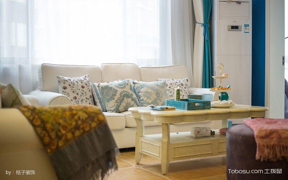 客厅绿色窗帘地中海风格装饰图片