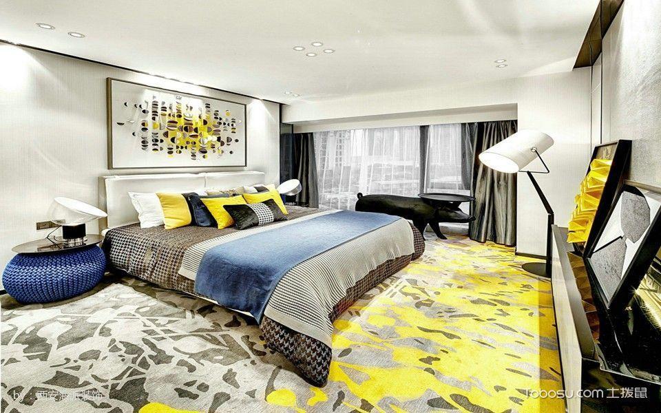 卧室灰色床后现代风格装潢图片
