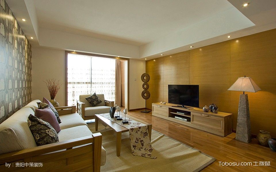 客厅 背景墙_万科5号简中风格实景案例家居