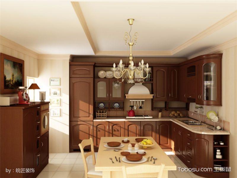 厨房黄色吊顶美式风格装修图片