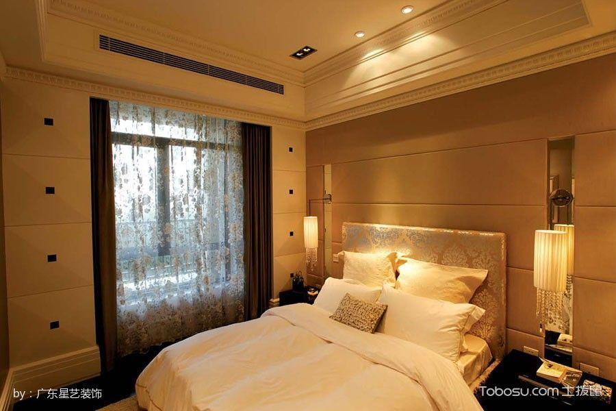卧室黄色床简欧风格装修图片