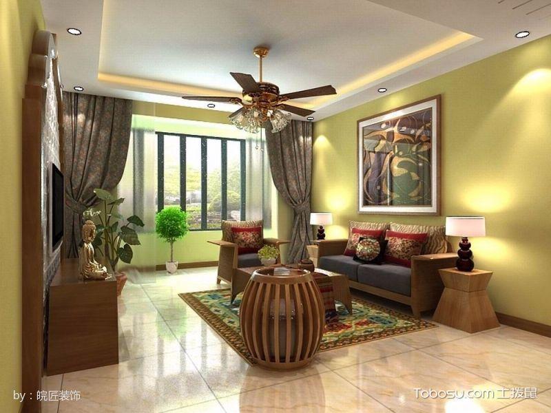 客厅咖啡色沙发田园风格效果图