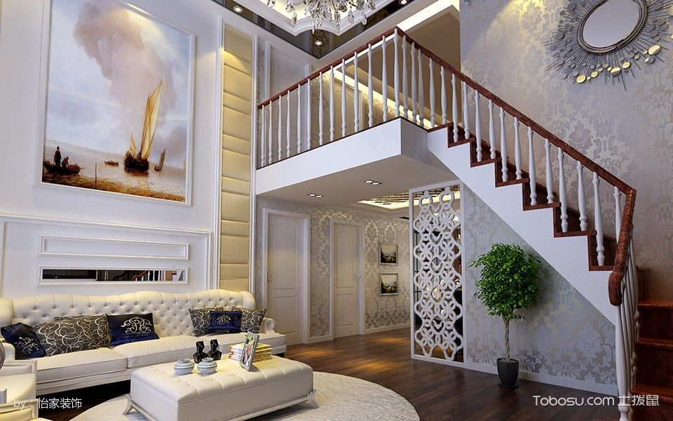 2019现代欧式客厅装修设计 2019现代欧式楼梯装修效果图片