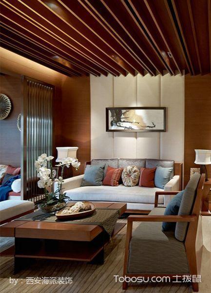 客厅咖啡色吊顶东南亚风格效果图
