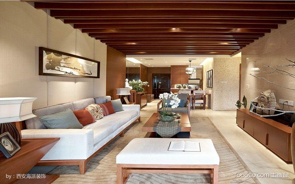 客厅咖啡色电视柜东南亚风格装饰效果图