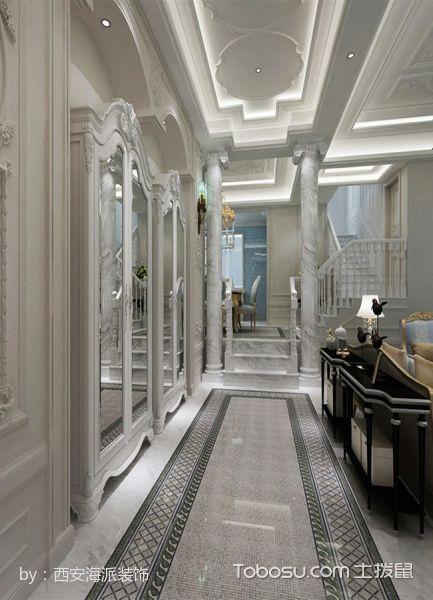 玄关灰色走廊法式风格装修设计图片