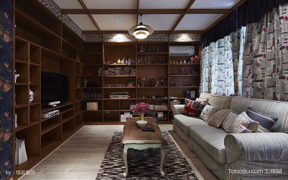 收纳型电视背景墙 78平米2居美式婚房