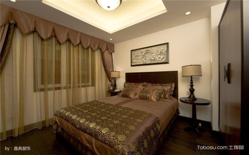 卧室咖啡色窗帘中式风格装饰设计图片