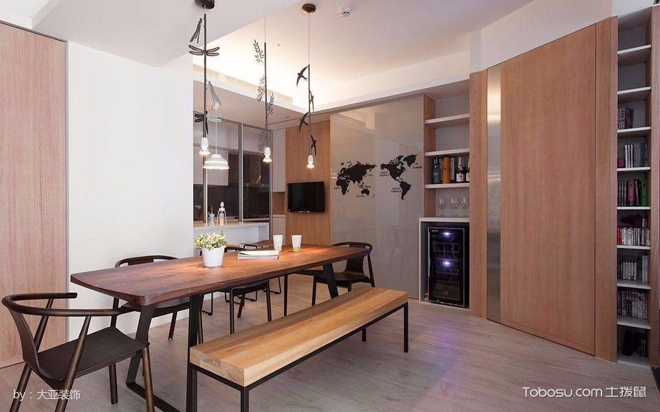 餐厅咖啡色餐桌简单风格装饰效果图