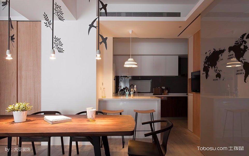 餐厅白色灯具简单风格装潢效果图