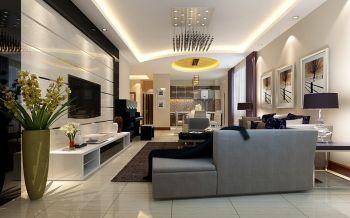 盛世缔壹城现代简约风格三居室装修效果图案例