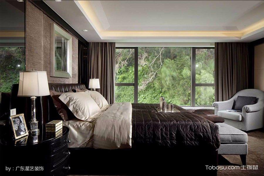 卧室咖啡色窗帘现代风格装饰效果图