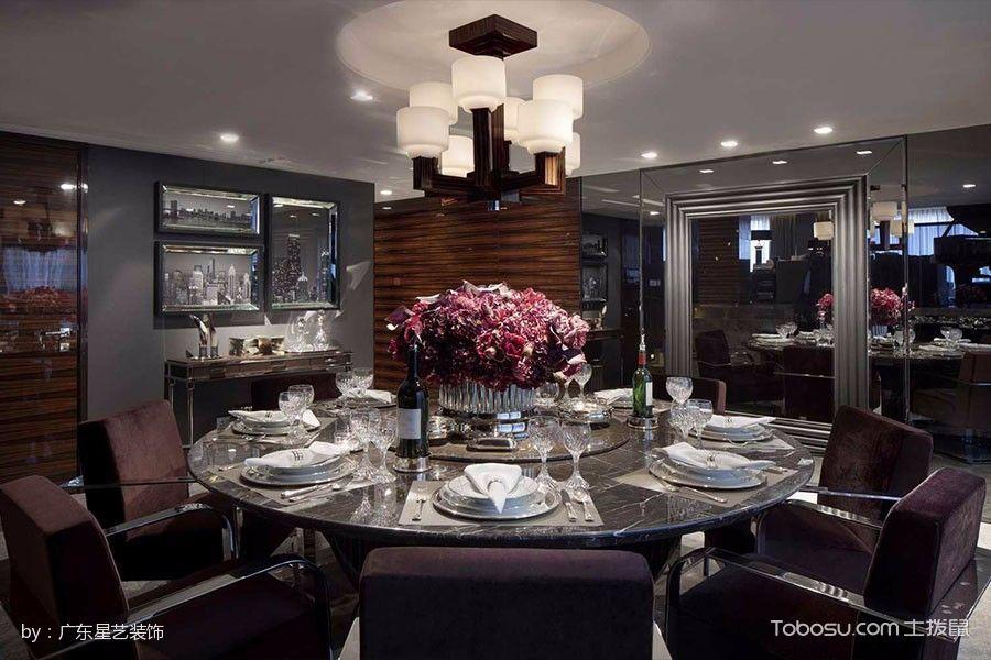 餐厅黑色餐桌现代风格装潢效果图