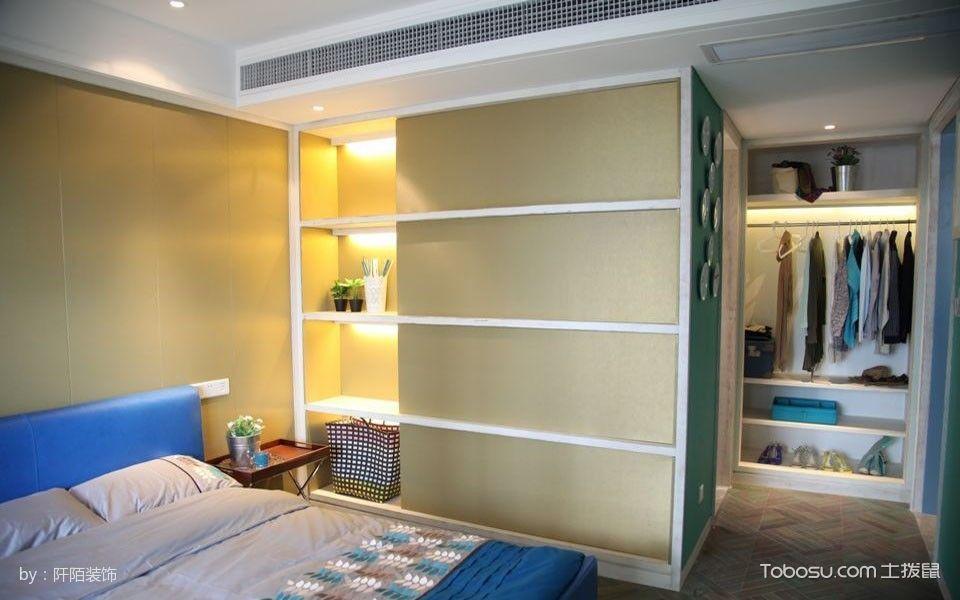 卧室蓝色床混搭风格装潢设计图片