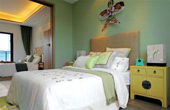 卧室背景墙现代中式风格装潢图片