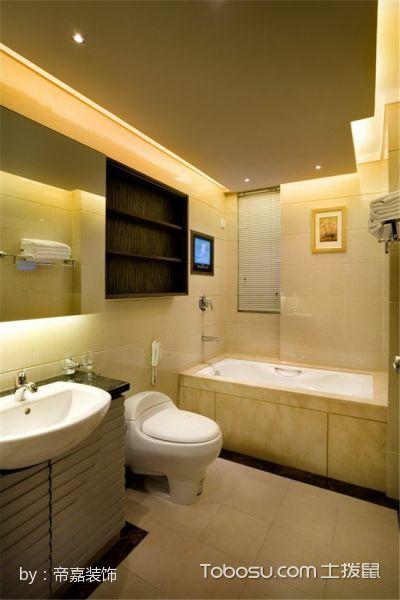 卫生间黄色浴缸混搭风格装修设计图片