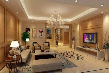 120平米黄色雅居乐现代欧式风格四居室平层装修效果图