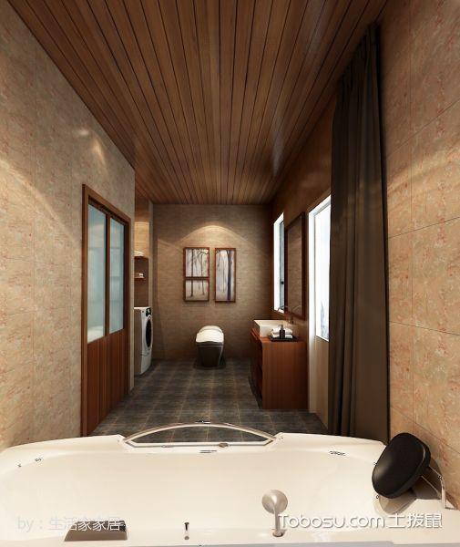 卫生间咖啡色窗帘现代简约风格装修图片
