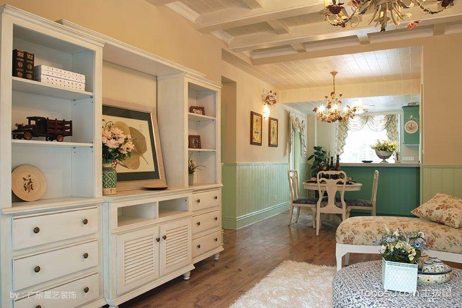 客厅咖啡色地板砖田园风格装修图片