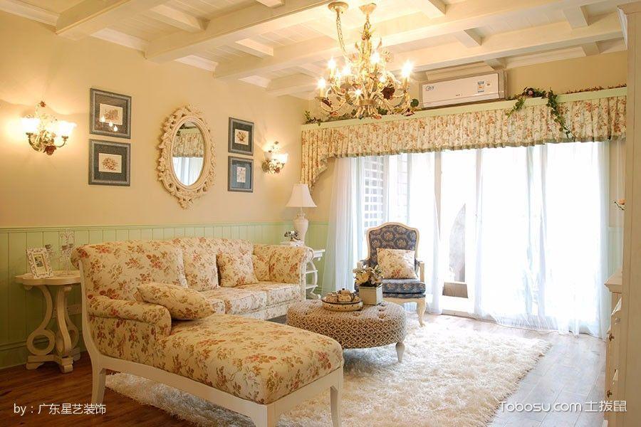 客厅黄色沙发田园风格装饰图片