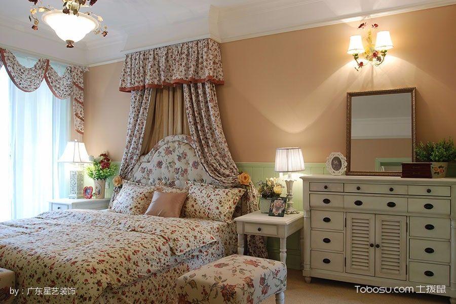 卧室彩色窗帘田园风格装潢图片
