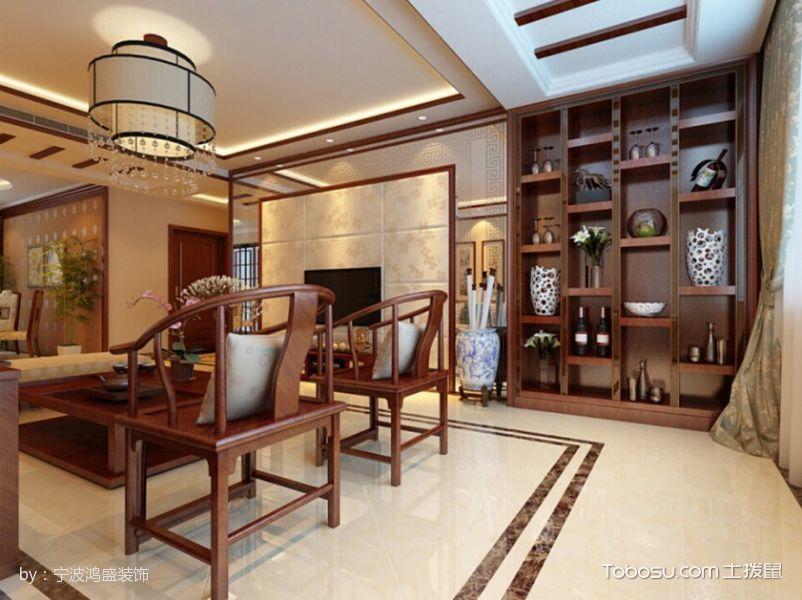客厅咖啡色博古架新中式风格装修设计图片