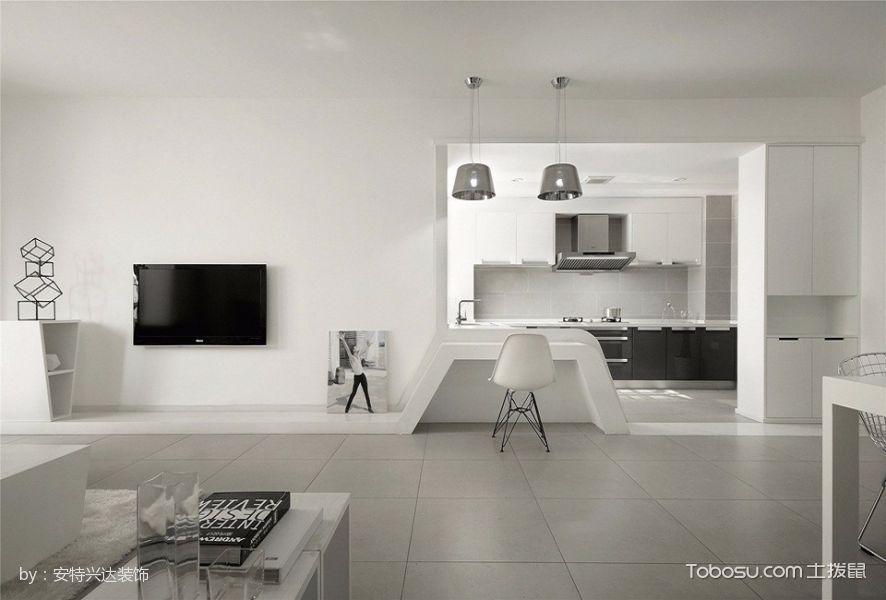 客厅白色吧台简约风格装潢设计图片
