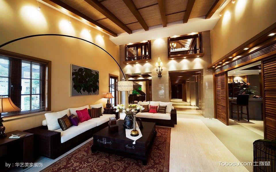 客厅咖啡色吊顶东南亚风格装潢图片