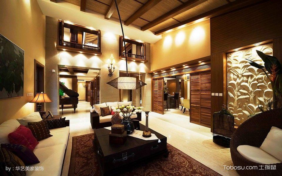 客厅黑色茶几东南亚风格装饰设计图片