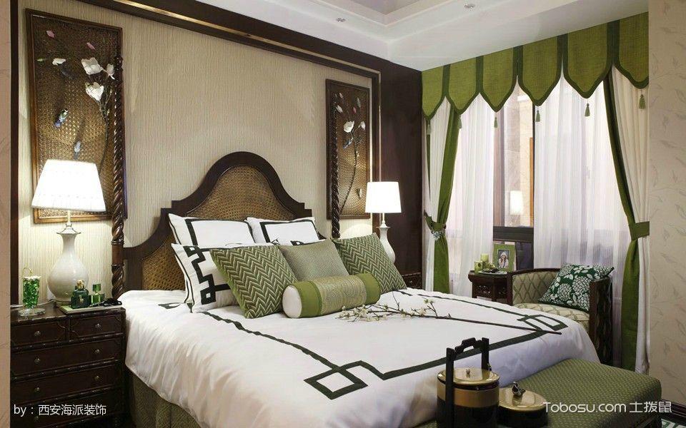 卧室绿色窗帘中式风格装饰效果图
