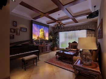 美式经典三居室装修效果图