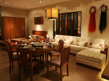名族园典雅90平中式风格小三房两厅小户型装修效果图