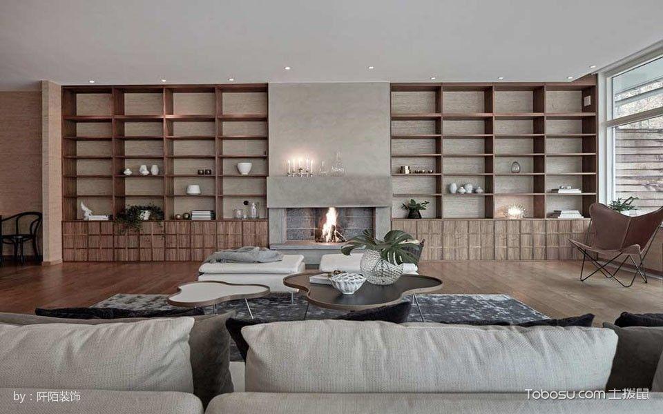 客厅咖啡色博古架现代风格装修效果图