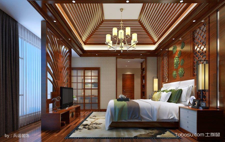 卧室红色隔断新中式风格装修设计图片