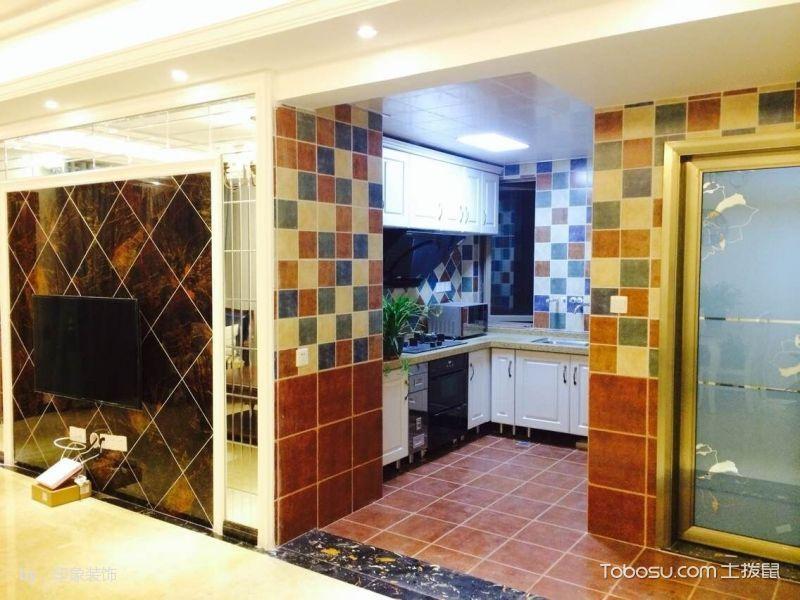 厨房彩色背景墙美式风格装修设计图片