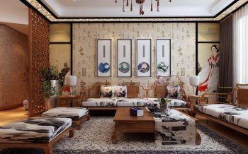 时尚与古典结合艺术新中式三居装修效果图