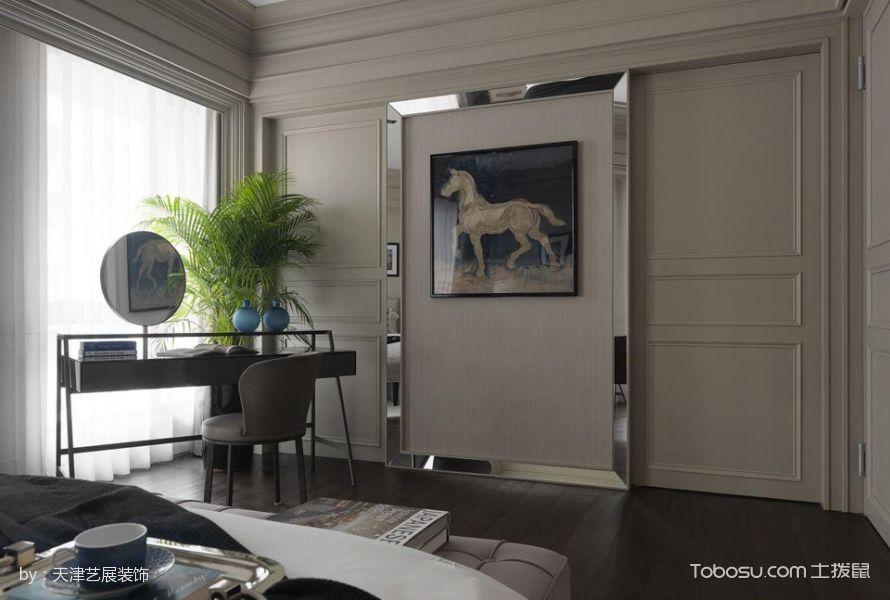 卧室灰色书桌混搭风格装潢效果图