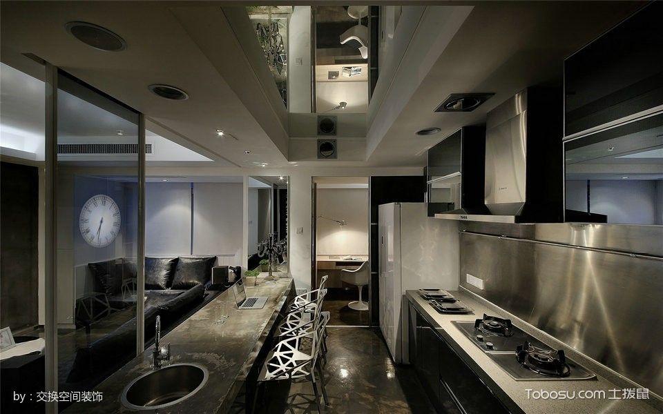 厨房黑色走廊现代简约风格装饰图片