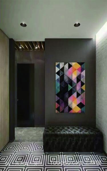 玄关彩色背景墙混搭风格装潢图片