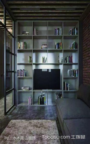 客厅灰色博古架混搭风格装修设计图片