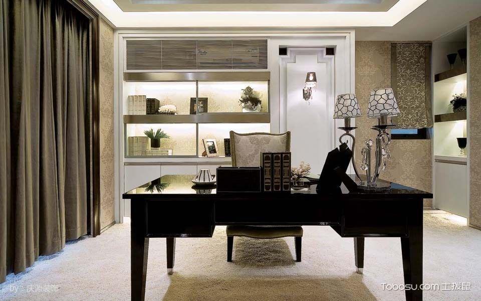 书房咖啡色窗帘古典风格装修设计图片